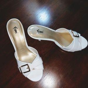 Women's White Fioni Kitten Heel Open-Toe Sandal